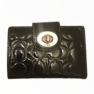 Coach black Patent leather embossed c wallet